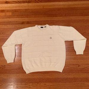 Mens IZOD White Round Neck Sweater Never Worn